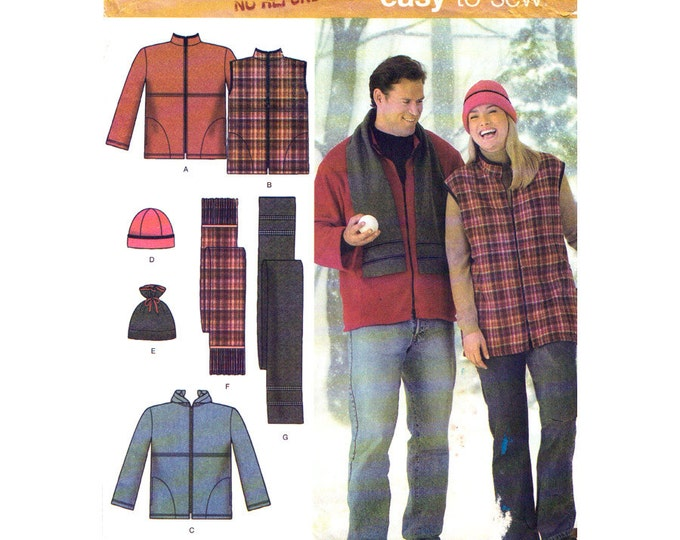 Hooded Jacket Vest Hat Scarf Pattern Simplicity 4803 Accessories Mens Womens Size S M L