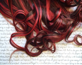 """the C H O C O L A T E . C H E R R Y 100 percent human hair Full Set clip in extensions 18/20"""" brown red Chocolate Cherry"""