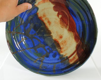 Ceramic Bowl, Shallow Ceramic Bowl with Blue, Red and Orange 10 Inch