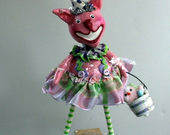Rosie Bunnykins - Whimsical Easter  Bunny Paperclay Collectible Art Doll