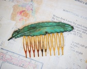 Large  FEATHER Hair Comb Verdigris Patina Autumn Woodland Whimsical Nature Bridal Green LEAF Gold Feather