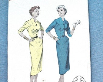 1950s Uncut Butterick 7174 Column Slim Wiggle OnePiece Dress Vintage Sewing Pattern Fitted Bodice Curved Accents  Slim Skirt  Bust 34 inches