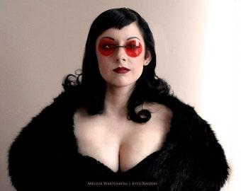 Red Round Sunglasses Steampunk Eyewear Cosplay Glasses