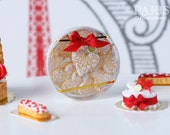 Valentine's Box of Lace-Effect Heart-Shaped Butter Cookies - 1/12 scale miniature food