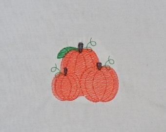 "Embroidered Iron On Applique  ""Pumpkin Trio"""