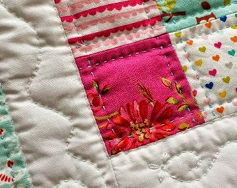 15% OFF - Mini Quilt Table Mat Centrepiece Pink and Blue