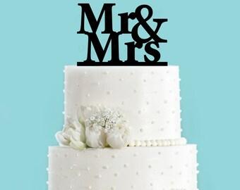 Mr & Mrs Block Wedding Cake Topper
