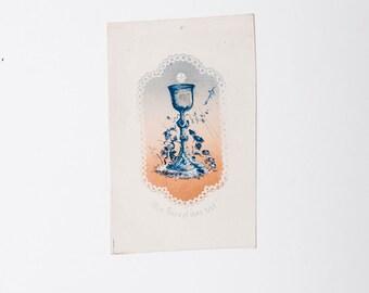 Large French antique prayer image, communion card, catholic image