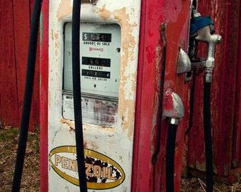 Old Red Pennzoil Gas Pump, Nostalgic Photograph, Man Cave Home Decor, Garage Art Decor, Rustic Americana  Men, Mans Office Decor, Art Print