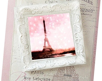 Pink Paris Photo With Frame, Shabby Chic Decor, Paris Pink Photo, Eiffel Tower Pink Hearts, Paris Decor, Pink Eiffel Tower White Frame Decor