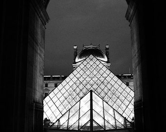 Paris Photography, Louvre Pyramid, Paris Black and White Photography, Louvre Museum Pyramid Architecture, Paris Black and White Louvre Arch