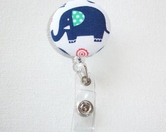 Retractable ID Badge Holder Reel  - Fabric Button - big blue elephant