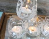 Beach Wedding Decoration , Sand Swirl Candle Holders - Unique Coastal Reception Decor
