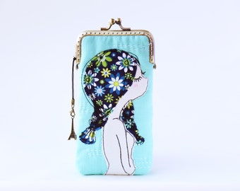 iPhone Case / Glasses Case - Spring Girl Free Motion Embroidery ( iPhone 7, iPhone 7 Plus, Samsung Galaxy S7 etc. )