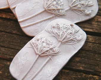 Silvery Gossamer White - Queen Anne's Lace rustic boho chic pressed flower rectangle focal pendant (ready to ship)
