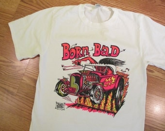 Vintage 1968 Born Bad Neon Iron on Transfer on a New T Shirt