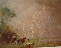 Vintage Print - Forked Lightning - - vibrant antique prints - Science Manual 1904 - Cassell's Popular Science