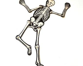 "Japan 13"" Die Cut Articulated Skeleton Halloween Decoration 60s VGC"
