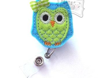 Baby Blue Lime Owl Badge Holder, Feltie Badge, Felt Badge Clip, Nurse Badge Reel, Retractable Badge, RN Badge