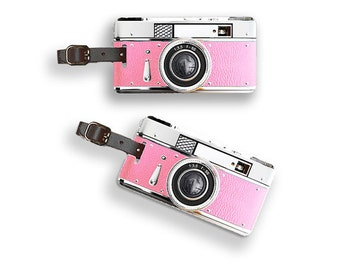 Printed Personalized Luggage Tags Pink Camera Luggage Tags - Luggage Tag Personalized Single Tag or Set Available