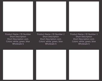 Wholesale linesheet template -Duo Tone, choose your color