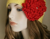 Flapper Inspired Hat Crochet Womens Hat with Flower Spring Beanie Pale Yellow Cloche Butterscotch and Rouge Red