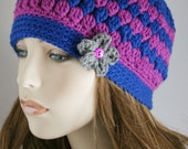 Fall Beanie Crochet Hat Womens Hat with Flower Colorful Beanie Accessories Cloche Hat Fall Fashion Grape and Royal Blue