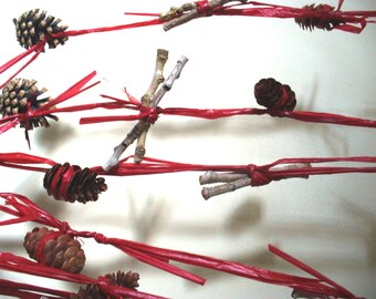 Christmas Garland Rustic Twig and Pinecone Holiday Door Decor