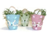 Polka Dot Pots | Three Hand Painted  Egg Cup Decorations | Peat Pots With Eggs