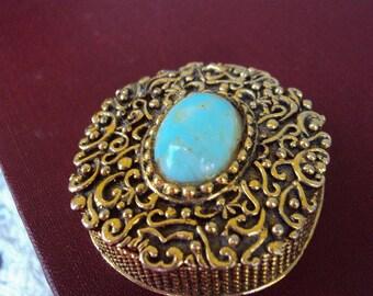 Vintage Ormolu Pill Box Pillbox Perfumette Compact Gold Metal Turquoise Stone