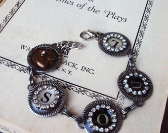 Vintage Style Gypsy Heart and Soul Typewriter Key Link Bracelet Glass Resin Rhinestone Chain