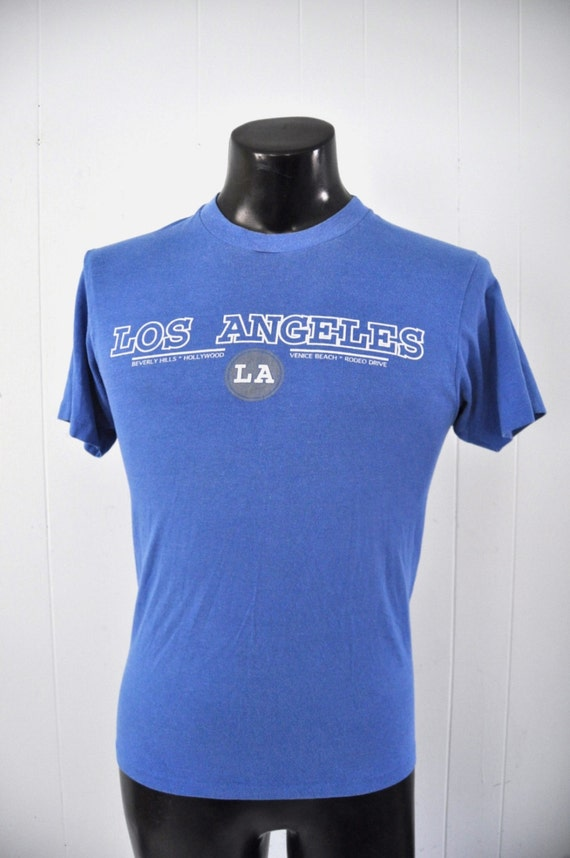 Awesome 80s Vintage Tshirt Los Angeles Faded Royal Blue Ca