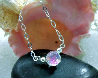 Delicate Sterling Silver Dichroic Glass Mermaid Tear Choker in Translucent Tropical Magenta Pink, Dainty, Delicate, Sparkling