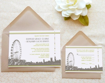 Westminster London Wedding Invitations - England Wedding - Destination Wedding - English Wedding - British Wedding