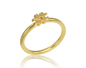 14K Hashtag Ring, Social Media Ring, Hashtag Gold Ring, Gifta for Her, Hashtag Stack Ring, Unique Engagement Ring