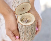 Rustic Wood Ring Bearer Pillow Box Alternative Tree Stump QUICK shipping available