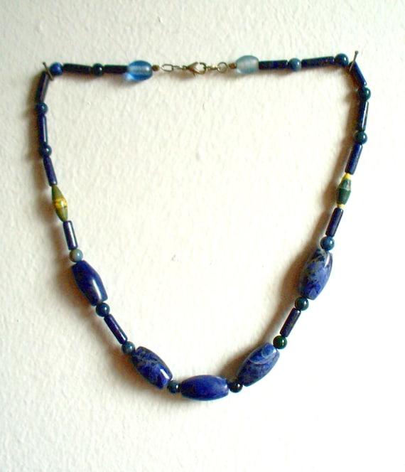 Denim Blue Beaded Necklace