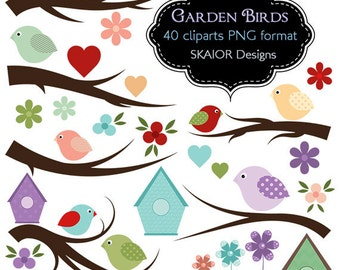 Birds Clipart Vector Birds Clip Art Branches Flowers Garden Birdhouse Hearts Digital Scrapbooking Invitations Valentines Baby Shower