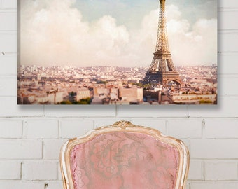 Paris Photo Canvas, Paris Above the Clouds, Eiffel Tower Fine Art Gallery Wrapped Canvas, Large Wall Art, French Home Decor