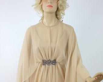 Vinage 70s Emma Domb Formal Dress Nude Chiffon Evening Long Goddess Dress Bust 36