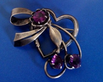 Sale Art Deco Sterling Silver Amethyst Rhinestone Brooch- Pin- Pendant