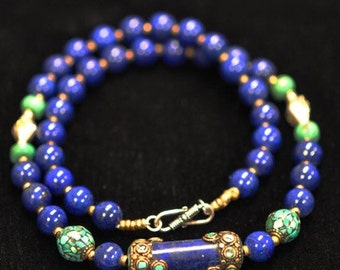 Mood Indigo - Lapis, Turquoise and Sterling Silver Necklace