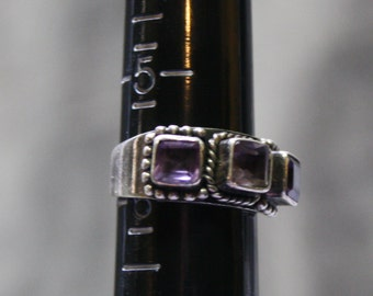 Vintage Sterling and Amethyst Triple Stone Ring- Size 5.5
