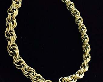 Vintage chunky gold tone choker chain