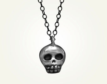 Baby Skull Necklace, Sugar Skull, Mini Skull, Sterling Silver, Handcrafted, Day of the Dead, Skeleton, Halloween. BABY SKULLY NECKLACE.
