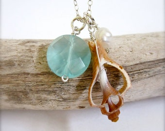 SALE // Shell necklace with pearl, beachy shell necklace, Made in Hawaii, blue quartz necklace, beach wedding jewelry, by Tidepools Jewelry