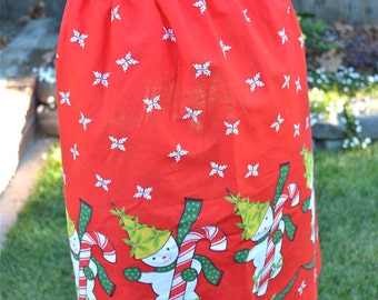 Vintage Christmas Apron - Candy Cane Snowmen on Red - Half Apron