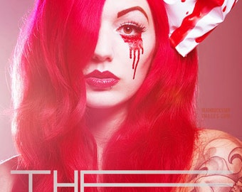 White pvc red latex blood drip hair bow fascinator HORROR HALLOWEEN