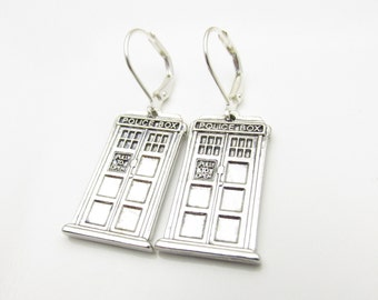 Tardis Earrings, Doctor Who Jewelry Fan Art, Antique Silver Police Box Tardis Charms G002