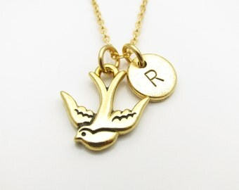 Bird Necklace, Swallow Bird Necklace with Personalized Initial Letter, Gold Bird Necklace, Nature Theme Jewelry, Bird Monogram Necklace Z145